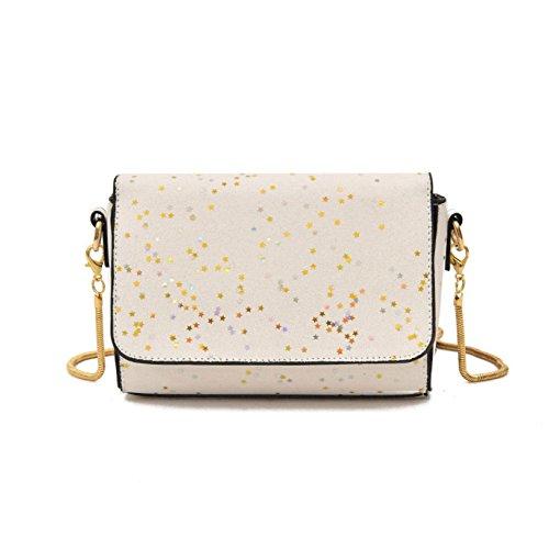 Ms Trend Lentejuelas Crossbody Bag Moda Hombro Bolsas Casual Wild Pequeño Cuadrado Paquete Daypack Compras Al Aire Libre White