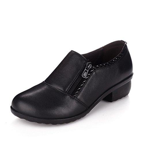 la de 9Inch A De Longitud anciana de zapatos 8CM mujer suave Zapatos mujer fondo madre pie de mediana Zapatos 22 de edad mujeres de Zapatos del cuero del 1twwdpqW