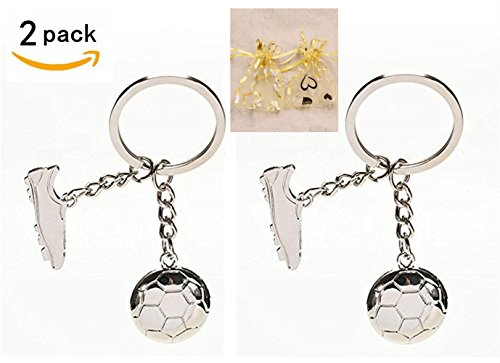2 Pack Soccer Keychains, HityTech Metal Football Boot Soccer Shoe Key Chain Soccer Key Ring Sports Gift with Jewelry Gift Bag - Sliver