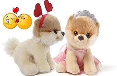 "Gund Itty Bitty Boo #028 Hearts Headband and #35 Ballerina Valentine Special Set of 2 Plush 5"" with Kiss Sticker"