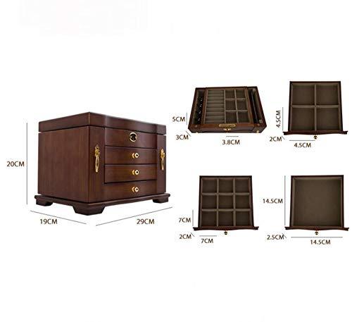 Hongge Caja Joyero,Joyería de Madera sólida Capacidad Caja Grande con Cerradura joyería Almacenamiento Cuadro de 29 * 19 * 20 cm: Amazon.es: Hogar