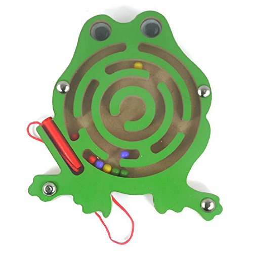 - Elloapic Mini Round Wooden Round Maze Puzzle Interactive Maze Pen Driving Beads Maze on Board Game Eduactional Handcraft Toys Frog