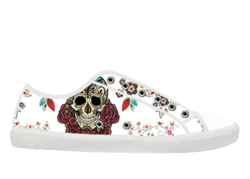 Womens Canvas Låga Sneakers Med Day Of The Dead Temat Duk Kvinnor Shoes17