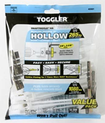 """TOGGLER SNAPTOGGLE BB Toggle Anchor with Bolts, Zinc-Plated Steel Channel, Made in US, 3/8"""" to 3-5/8"""" Grip Range, For 1/4""""-20 UNC Fastener Size"""