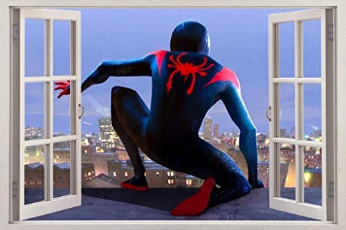 مرد عنکبوتی INTO The Window Spider Verse 3D Decal Decal Wall Sticker Super Hero W002، Huge