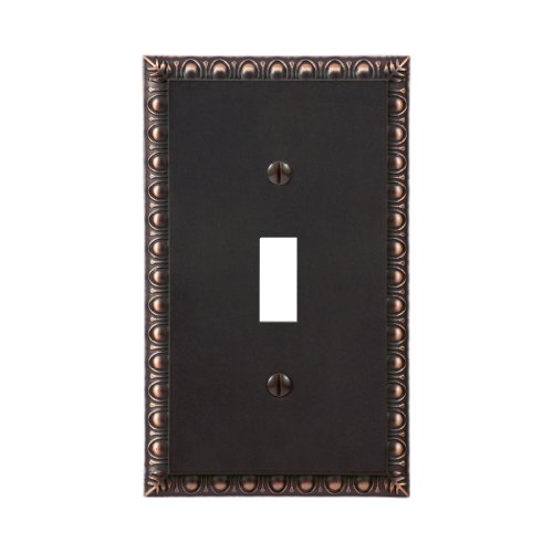 Renaissance Dark Bronze Wall - Amerelle Egg & Dart Single Toggle Cast Metal Wallplate in Aged Bronze