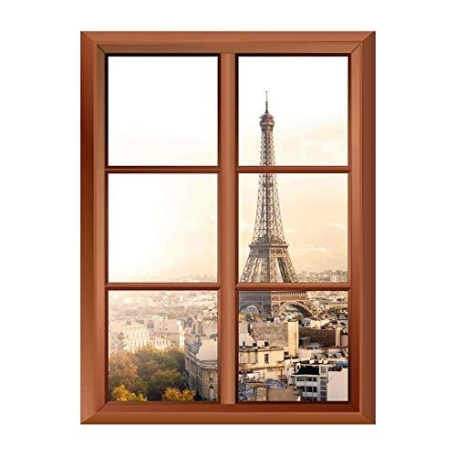 Removable Wall Sticker Wall Mural Eiffel Tower in Paris Creative Window View Vinyl Sticker