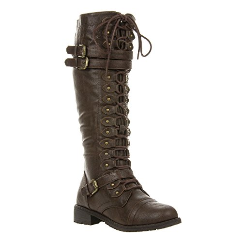 Fourever Funky Women's Vegan Leatherette Triple Buckle Lace Up Knee High Boot Brown sfdmYJXd