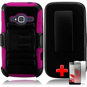 ZTE Concord II / 2 - 2 Piece Silicon Soft Skin Hard Plastic Kickstand Case Cover w. Belt Clip Holster, Black Pink + SCREEN PROTECTOR