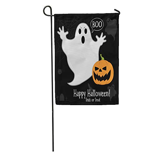 Semtomn Garden Flag Afraid Funny Ghost in Cartoon on Pumpkin Halloween Party Autumn Home Yard House Decor Barnner Outdoor Stand 12x18 Inches Flag]()