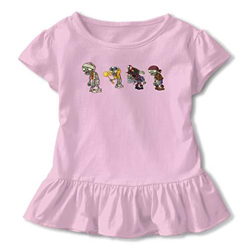 Juvenile Plants Vs Zombies Girls Petticoat Falbala T-Shirt Cool Top 4T Skirt Dresses 2-6T Pink