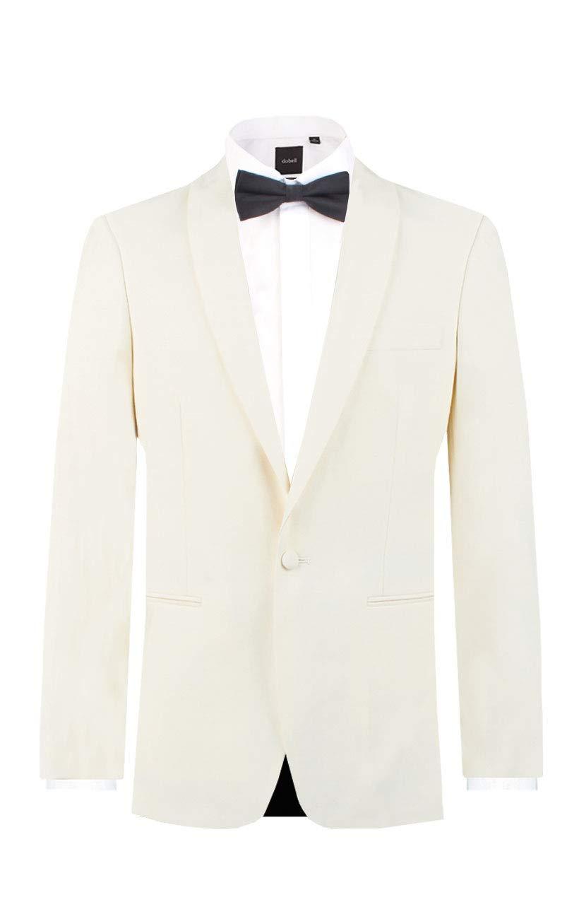 Dobell Mens White Tuxedo Dinner Jacket Regular Fit Shawl Lapel-52R by Dobell