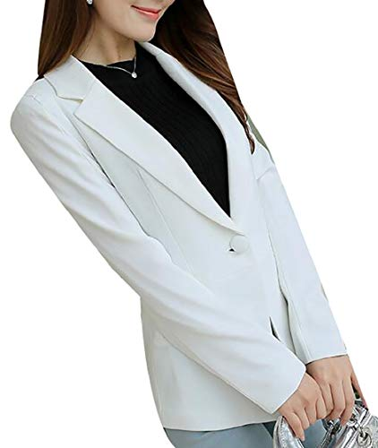 Cromoncent Womens Solid Work Suit Coat One Button Elegant Blazer Jacket
