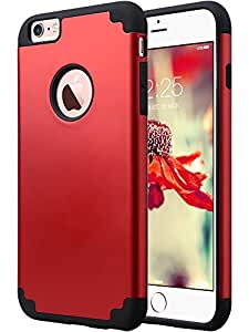 iPhone 6S Plus Case, iPhone 6 Plus Case, ULAK Slim Dual Layer Hybrid Protective Case Fit for Apple iPhone 6 Plus (2014) / 6S Plus(2015) 5.5 inch Hard Back Cover and Soft Silicone Skin-Red + Black