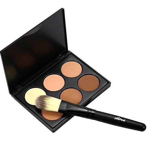 RedDhong 6 Colors Makeup Face Contour Concealer Poweder Bronzer Highlighter Palette Makeup Set + Powder Brush -  RED-H1355A04