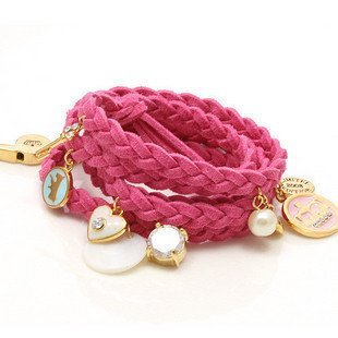 niceeshop(TM) Fashion Synthetic Leather Woven Bracelet with Charms,Pink