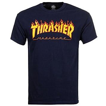 880e346a01ad Thrasher Skateboard Skate Mag Flame Logo Navy T Shirt: Amazon.co.uk: Sports  & Outdoors