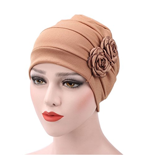 Price comparison product image Flowers Chemo Hat Beanie Scarf Turban Head Scarf Turban Wrap Cap Ruffle Chemo Turban headband Scarf Beanie Cap Hat for Cancer Patient (C2)