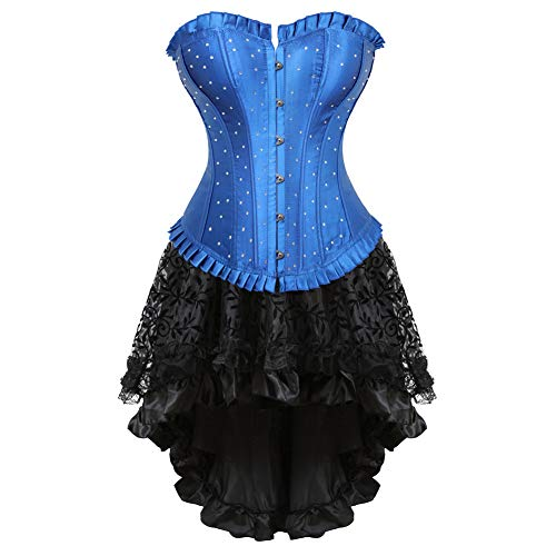 frawirshau Corset Dress Women's Rhinestone Overbust Corsets Skirt Set Halloween Costume Burlesque Dancing Dress Blue 5XL ()