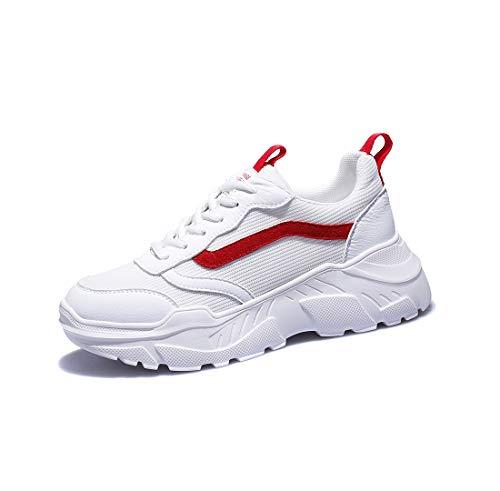 女性のスポーツスタイルの単一の靴秋の新しい野生の通気性メッシュ表面厚底カジュアルスポーツ白い靴