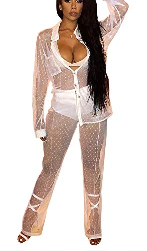 Bluewolfsea Women Sexy Club Outfits Two Piece Mesh Polka Dot Button Down Shirt + Wide Leg Long Pants Set, 2-white, Large