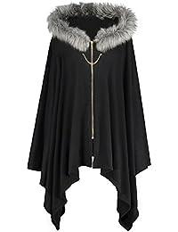 Women's Plus Size Faux Fur Insert Zip Up Asymmetrical Hooded Cape Coat