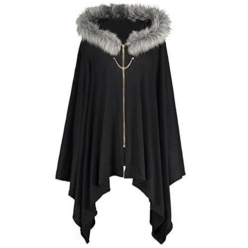 DEZZAL Women's Plus Size Faux Fur Insert Zip Up Asymmetrical Hooded Cape Coat (Black, (Fur Plus Size Coat)