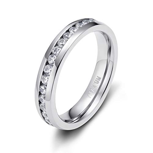 TIGRADE 4MM Eternity Titanium Ring Wedding Band with Cubic Zirconia (10) by TIGRADE