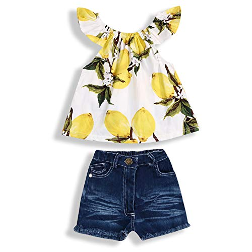 Jeans Set Outfit - Toddler Baby Girls Fly Sleeve Cute Lemon Print Shirt Tops Ripped Jean Shorts 2PCS Summer Outfits Set (# 1, 5-6 Years)