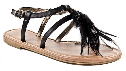 Amadi! Ville Classée Trendy Mode Plume Sandales À Talons Plats En Noir