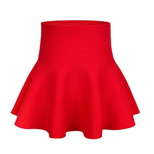 storeofbaby Children Girl High Waist Knitted Plain Tutu Casual Skirt for Party(9-10 Years/Asian Size 5/Fits 150 cm Tall, Red)
