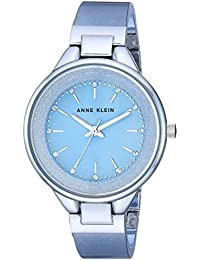 Women's AK/1409LBSV Swarovski Crystal Accented Silver-Tone and Light Blue Resin Bangle Watch