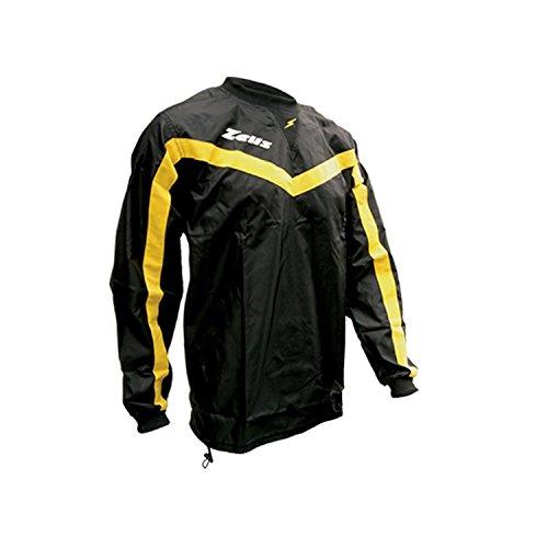 Zeus Herren Regenjacke mit Kapuze K-Way Rain Jacket Wasserdicht Running Fußball Laufen Training Sport GIACCA ALBATROS SCHWARZ GELB (S)