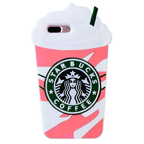 Pink Coffee Cup Case for iPhone 8 Plus / 7 Plus,3D Cartoon Animal Cute Soft Silicone Rubber Character Cover,Food Funny Design Kawaii Fashion Cool Fun Skin for Kids Child Teens Girls(iPhone 7Plus/8Plus