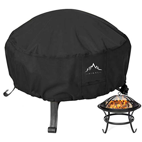 Himal Outdoors Fire Pit Cover- Heavy Duty Waterproof 600D Polyster with Thick PVC Coating, Round Fire Pit Cover, Waterproof, 36 Inch, Black (Firepit Cover With)
