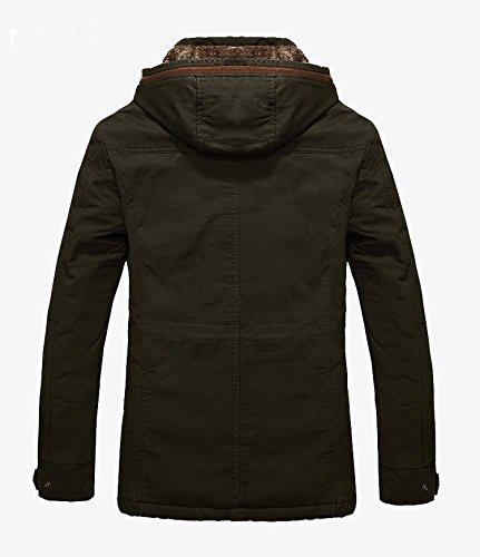 SODIAL (R) Herren Warme Jacke Oberbekleidung Pelz gefuetterter langer Mantel mit Kapuze - Armee Gruen - Groesse XXL