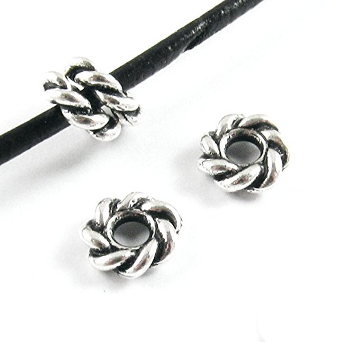 TierraCast Large 2.5mm Hole Pewter Beads-SILVER TWISTED SPACER 8mm (4) Twisted Spacer