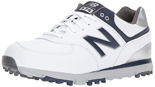 New Balance Men's 574 SL Waterproof Spikeless Comfort Golf Shoe, White/Navy, 11 XW US