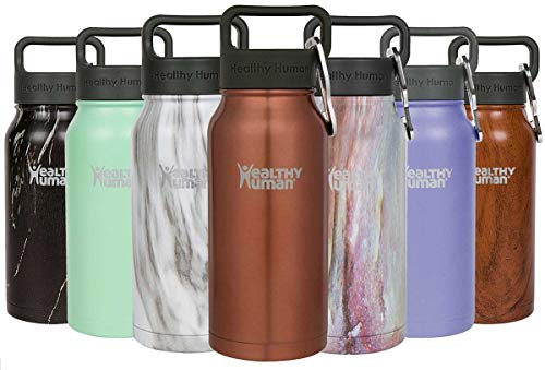 (Healthy Human Insulated Stainless Steel Water Bottle Stein - Cold 12 Hours/Hot 6 Hours - Double Walled Vacuum Flask with Hydro Guide & Carabiner - 16 oz Sunset Gold)