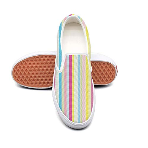 Women Rainbow Stripes Rainbow Print loafers Canvas Shoes low top