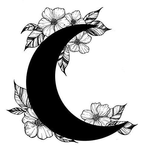 (EW Designs Crescent Moon with Dainty Black and White Flowers Vinyl Decal Bumper Sticker (4