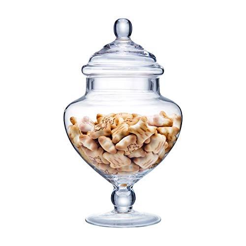 "Diamond Star Clear Glass Apothecary Jars, Candy Buffet Display, Elegant Storage Jar, Decorative Wedding Candy Organizer Canisters (Height: 9"" Body: 5"") from Diamond Star"