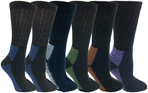 Merino Wool Socks, Womens 6 Pairs, Comfort Blend Thermal Winter Cold Weather Gift, Bulk Pack (Black w/Colored Heel Toes)