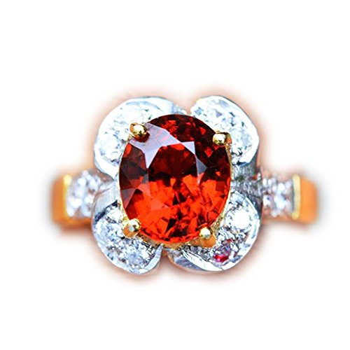 18.64ct Natural Oval Orange Hessonite Garnet 925 Gold Silver Ring 7US #R by Lovemom