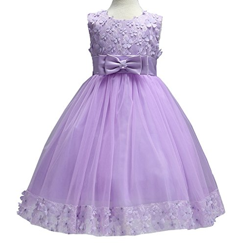 Flower Girl Dress Purple Kids Wedding Party Birthday Princess Girls Performance Ruffles Splicing Bowknot Lace Knee Tutu Dresses