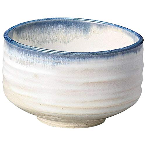 - Yamakiikai Minou Pottery Japanese Tea Bowl White & Blue Made by カネタ (Kaneta) F1725 from Japan