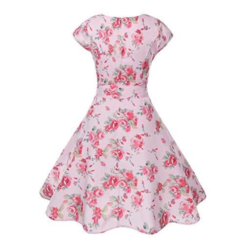 Vita Marca Corta rosa Da Retro Stampa Women Ballo Manica Dress Vintage Casual Fashion Ladies Festa Swing Di Mode E Bodycon Summer 2018 Prom a qzVSUpMG