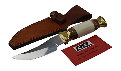 Rogue-River-Tactical-Knives-Hunting-Knife-Bowie-Bone-Handle-Skinning-Knife-Skinner-8-Inch-With-Leather-Sheath