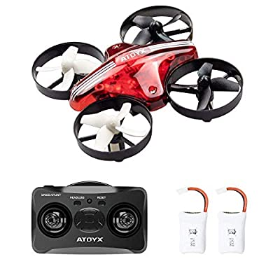 ATOYX AT-66 Mini Drone, RC Nano Quadcopter Auto Hovering Headless Mode 3D Flips 3 Speeds RC Helicopter Plane with Bonus Batteries for Kids and Beginners