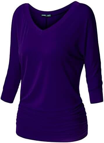 Plus Size Drape Top Side Shirring Dolman Sleeve Basic Jersey Tops